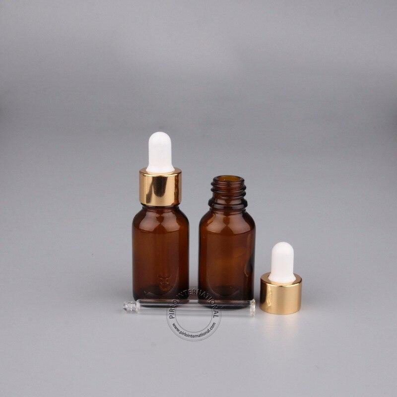50pcs Lot Empty 15ml Amber Glass Essential Oil Bottle 1 2 OZ Drop Pipette Pot 15g