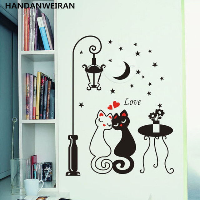 Kartun Hitam Putih Pasangan Cat Dinding Decal Seni Mural Mode