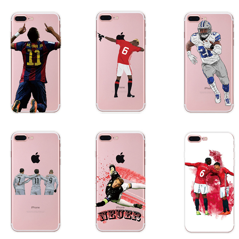 Sports Man Clear Soft Phone Case Cover For iphone 8 Plus 6 6S 7 7Plus 5S Silicone Coque Sport Football Soccer Star Coque Capa