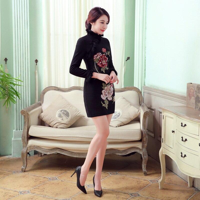 Chinois Noir Style rouge Femmes Automne Laine Qipao Taille Bleu L Lapin Cheongsam M Robe F101413 Xxl Vintage Hiver De Mini Xl Mode La S f8qcpBw