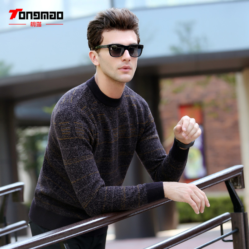 Autumn Winter Mens Sweater Fashion Striped Solid Color O Neck Thick Men Pullover 100 Wool Warm