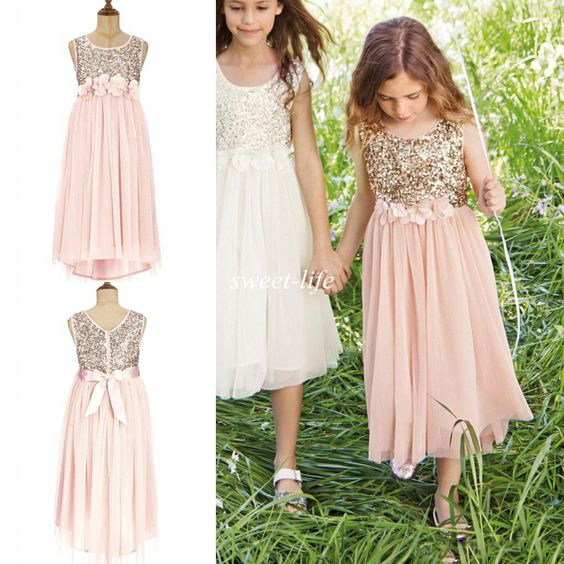2018 Blush pink Flower Girls Dresses Gold Sequins with Sash Tea Length Tulle A Line Kids Junior Bridesmaid Formal birthday Dress ...