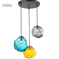 3 STKS Kristalglas Steen LED Hanglampen voor Eetkamer Bar Decor Ijsblokje Veelhoek Hanglamp Indoor Verlichting Opknoping Lamp