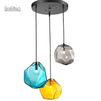 3PCS Crystal Glass Stone LED Pendant Lights for Dining Bar Decor Ice Cube Polygon Pendant Lamp Indoor Lighting Hanging Lamp