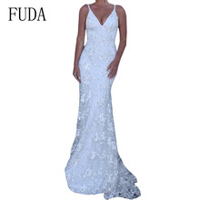 FUDA Sexy Spaghetti Strap Deep V-neck Bodycon Floor-length Dress Elegant Backless Hollow Out Lace Long Summer Party Wear
