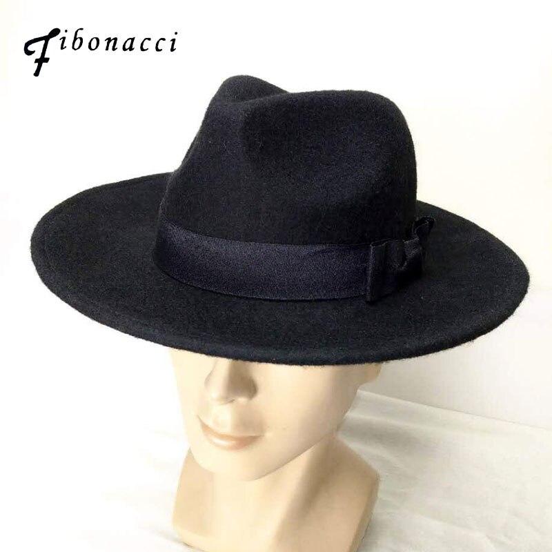 Fibonacci Wide Brim <font><b>Fedora</b></font> Men Black Jazz Hat Flat Brim Felt Cap Autumn Winter Trilby Wool Bowler Hats <font><b>for</b></font> Women Jewish Hat