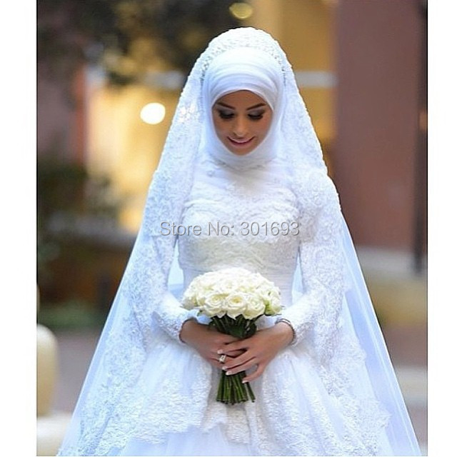 Oumeiya OW306 With font b Hijab b font Veil High Neck Long Sleeve Beaded Lace Appliqued