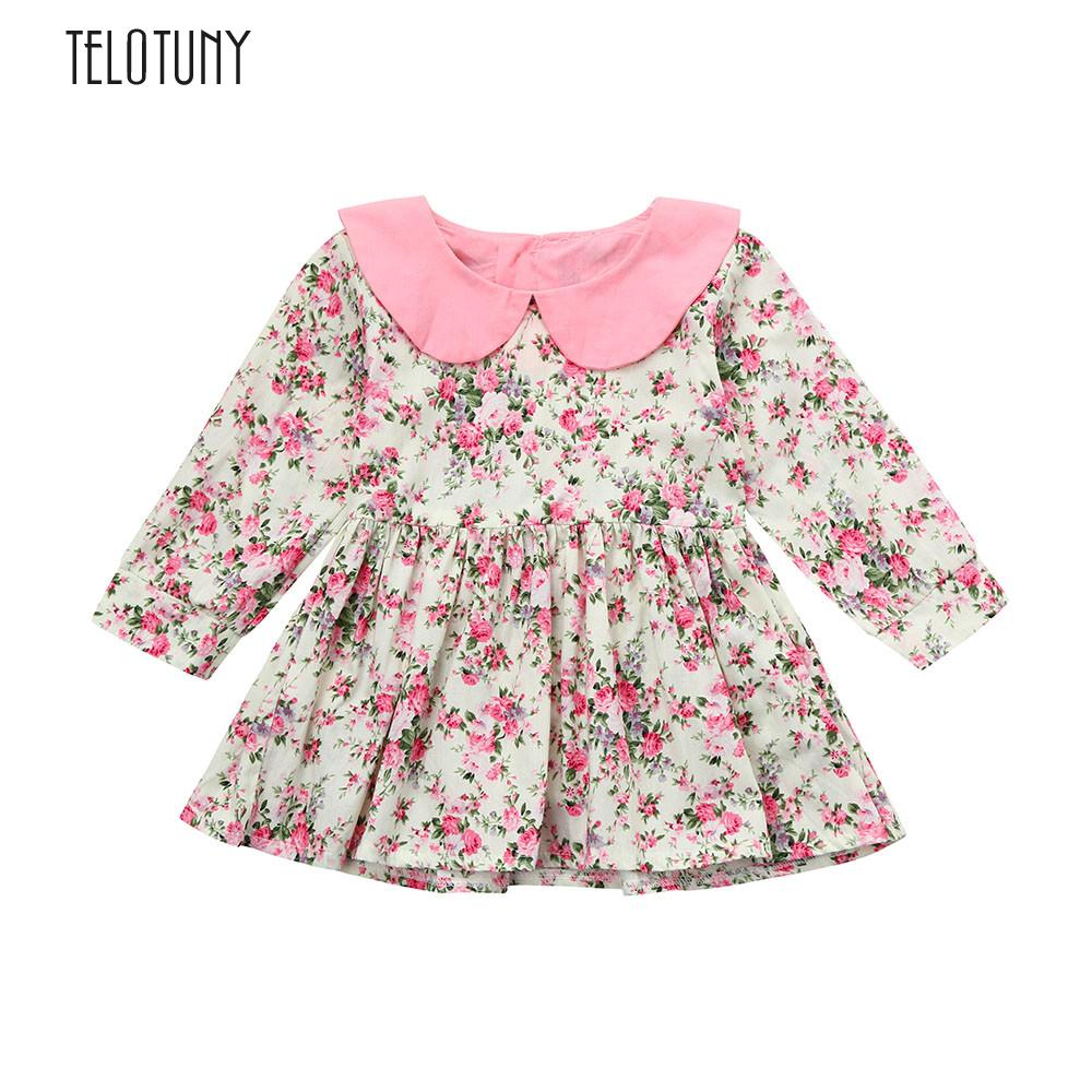 TELOTUNY Toddler Baby Gils Long Sleeve Floral Splice Dress Rrincess Sundress Clothes Floral Splice Long Sleeve S3MAR19 ...
