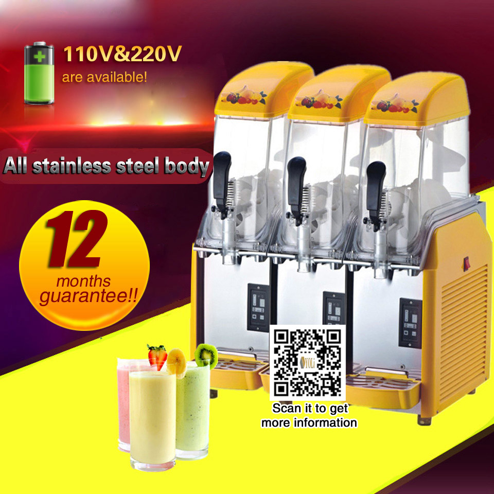 Commercial 3 Tank Frozen Drink Slush Slushy Making Machine Smoothie Maker Free Shipping