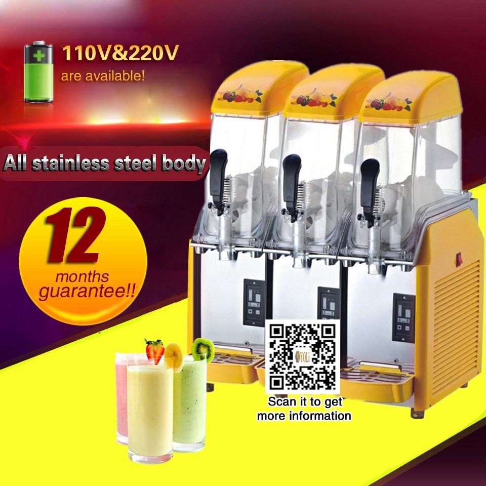 Commercial 3 Tank Frozen Drink Slush Slushy Making Machine Smoothie Maker Free Shipping