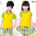 2016 nueva Kindergarten juego de la ropa de corea juegos servicio de clase uniformes de verano de manga corta venta al por mayor