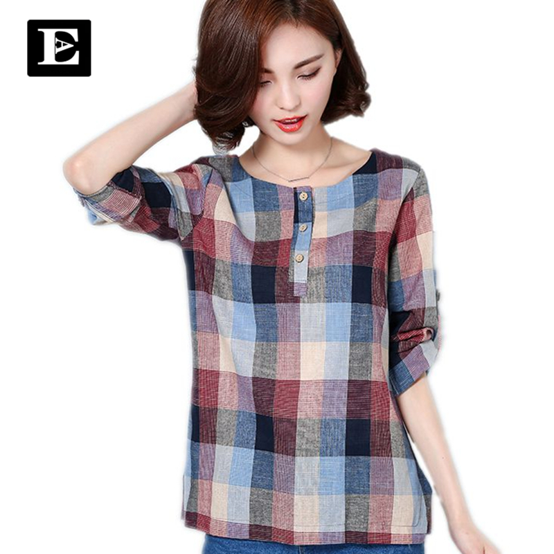 EvelingAsky Store EveingAsky Brand New 2017 Summer Style Plaid Print long Sleeve Shirts Women Plus Size Cotton Linen Blouses Casual Tops 1713#