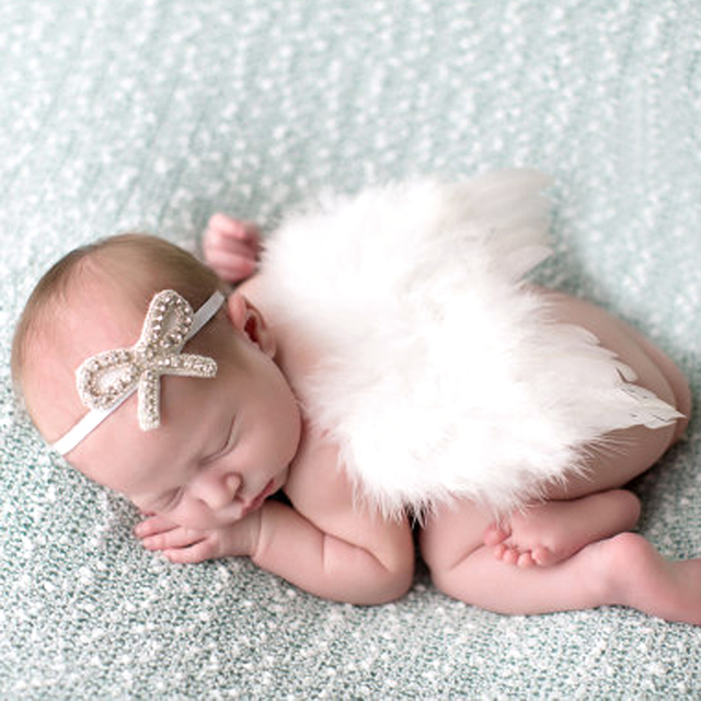Baby Photography Prop Newborn Feather Angel Wing Fitted Photography Prop with Crystal Headband Set 0-24 Months Baby Photo Prop