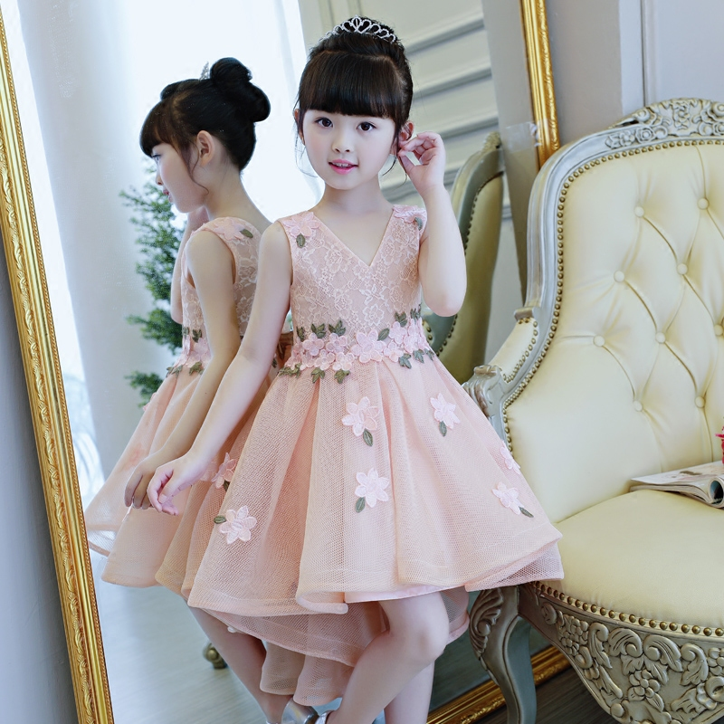 2017 Korean New Fashion Baby Girls Princess Pink Lace Flowers Dress Children Kids Birthday Party Evening Wedding Dress Clothes 2016 new fashion spring autumn girls false two dress children stripe princess dress korean leisure kids clothes dc095
