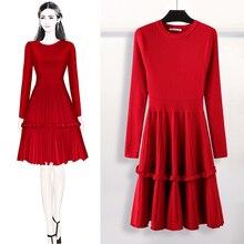 Элегантное женское платье свитер 2018 зимнее однотонное платье свитер с оборками и длинным рукавом длиной до колена женское ТРАПЕЦИЕВИДНОЕ трикотажное платье Vestidos