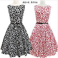 Womens plus size clothing Fashion 2016 Retro Party Dresses Women Casual Polka Dot Short Sleeve Ball Gown Women Dress With Belt