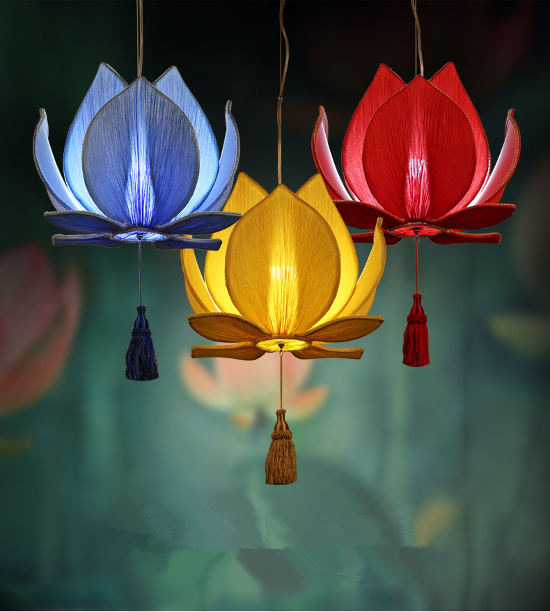 The new Chinese lotus leaf chandelier dining room restaurant decoration lamp classical imitation cloth red lantern