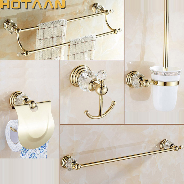 Luxury Crystal Silver Bathroom Accessories Set Gold Polished Brass Bath  Hardware Set Wall Mounted Bathroom Products
