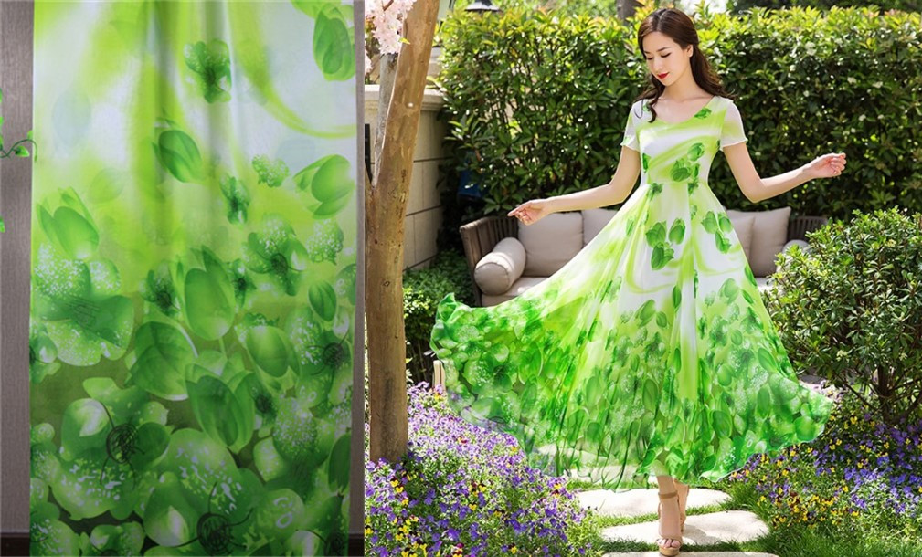 Grass green Lily print koshibo chiffon dress fabric for sewing,Summer clothing tulle textile2017070251