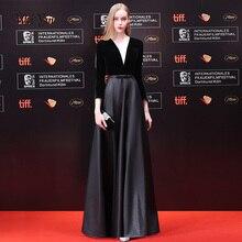 weiyin A Line 3/4 Sleeve Long Evening Dress Sexy Illusion Velour Evening Gown Abendkleider Robe De Soiree Longo WY1045