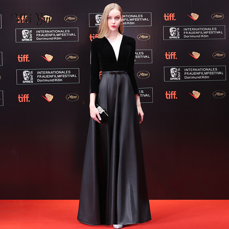 weiyin A-Line 3/4 Sleeve Long   Evening     Dress   Sexy Illusion Velour   Evening   Gown Abendkleider Robe De Soiree Longo WY1045