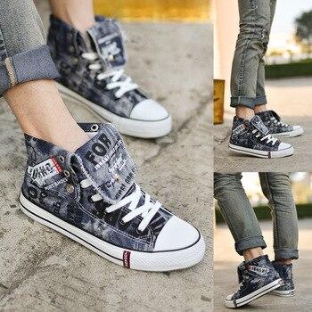 Парусиновая мужская повседневная обувь с граффити, джинсовые сникерсы, Мужская Вулканизированная обувь, оксфорды, обувь на плоской подошве...