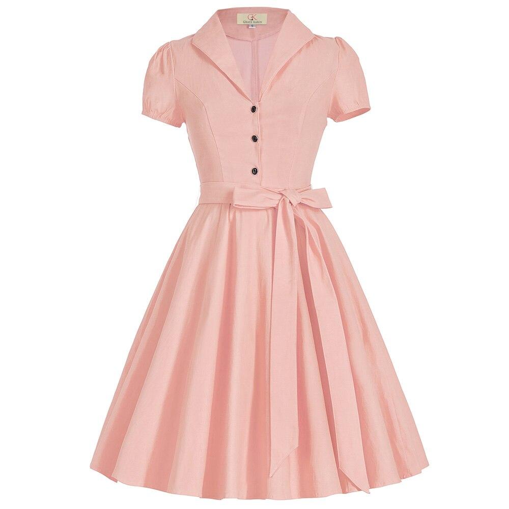 Women 50s Vintage Dress Summer Style 2017 Short Sleeve ...