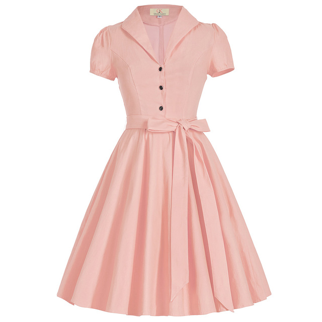 Women 50s Vintage Dress Summer Style 2017 Short Sleeve Lapel Collar Pink Yellow White Retro