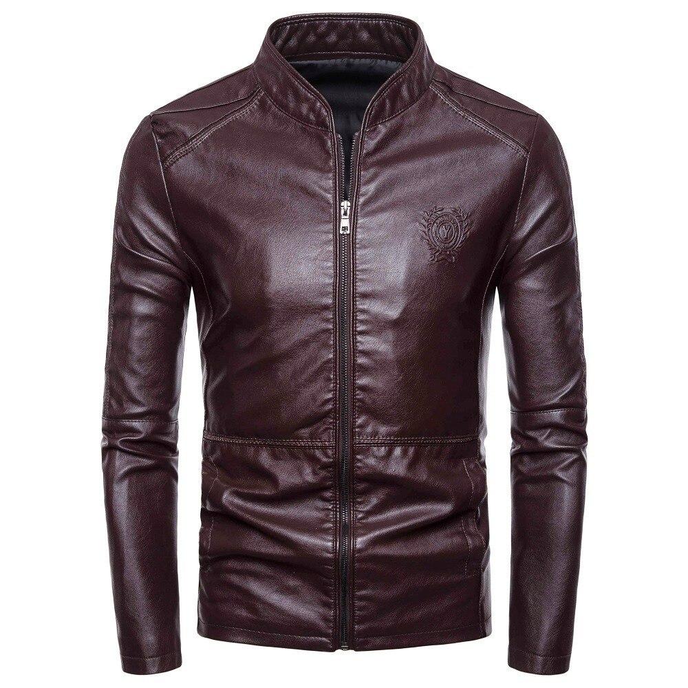 men fur jacket  Autumn Winter Casual Motorcycle Pilot Leather Jackets Coat Men Fashion Stand Collar Faux Leather Jacket Coats мужские кожанные куртки с косой молнией