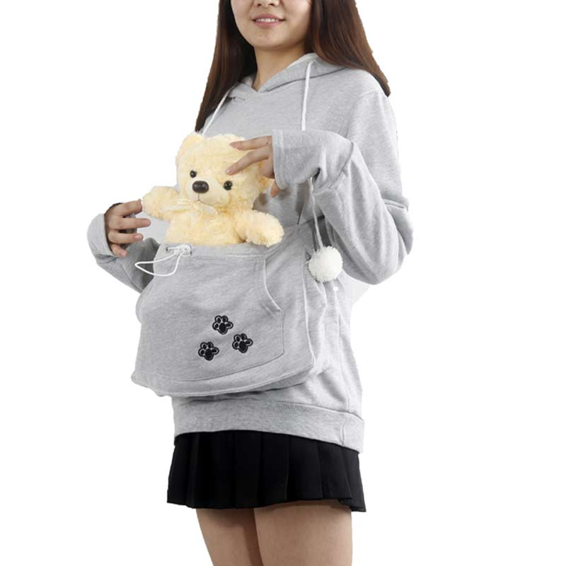 New Fashion Ladies Dog/Cat Hoodies With Cuddle Pouch Casual Kangaroo Pullovers Women Sweatshirt LB