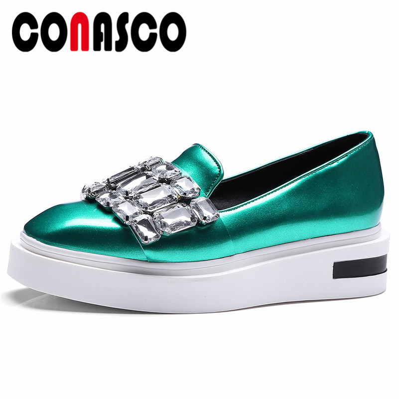 CONASCO 2019 Spring Summer New Fashion Pu Leather Women Pumps Slip On Platforms Single Shoes Woman Rhinestone Office Shoes