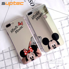 SUPTEC Cute Cartoon Mickey Mouse Mirror Phone Case for iPhone 8 7 6s 6 Plus 5s Soft Silicone Capinhas Cover for iPhone 7 6 Coque