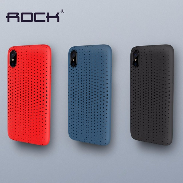 size 40 547b8 d4a2e US $4.99 |Original ROCK For iPhone X Case Cover Soft Silicone TPU Mesh Back  Cover For iPhone 10 Phone Case Shockproof Protective Shield-in Fitted ...