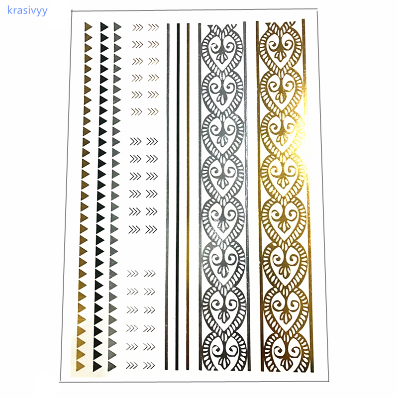 Flash Tattoos Gold Silver Metal Temporary Tattoos Golden necklace hair