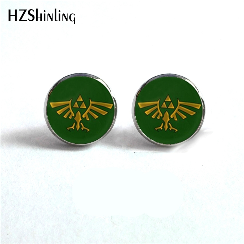 NES-0094  Legend Of Zelda Earrings Legend Of Zelda Triforce Jewelry Ear Stud Glass Dome Earrings For Women HZ4