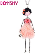 Paris Doll Necklace Dress Flower Long Chain