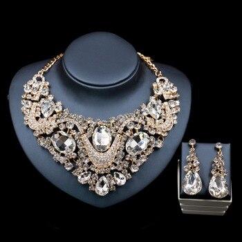 Lan palace нигерийские Свадебные африканские бусы комплект ювелирных изделий со стразами ожерелье и серьги для свадьбы Бесплатная доставка