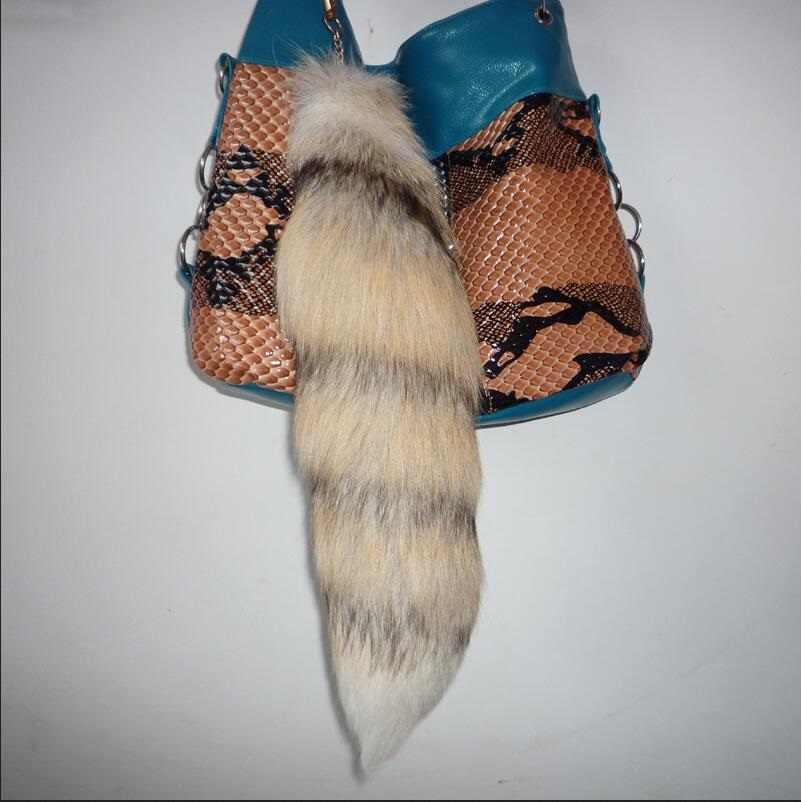 Verdadeira Raposa Cauda Chaveiro para chave Bolsa Cosplay Asscessory Cauda longa pele de raposa charme saco chave mulheres cadeia cor dourada a76