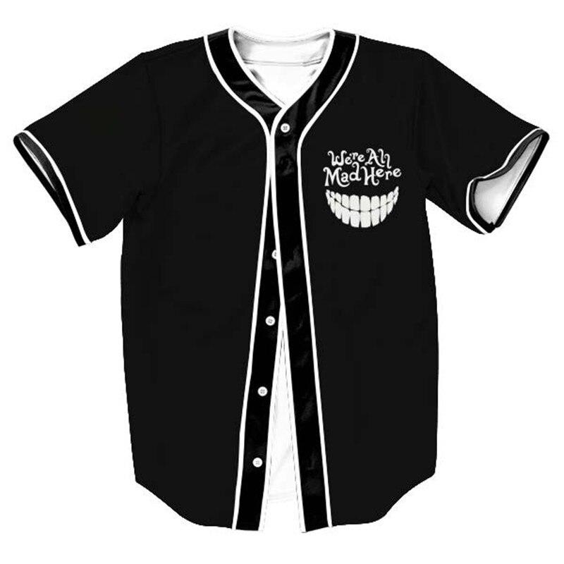 fashion mens 3D print Baseball Jersey SUMMER mens short sleeve t shirts men cardigan jersey Tops Alien Design Clothes Unisex