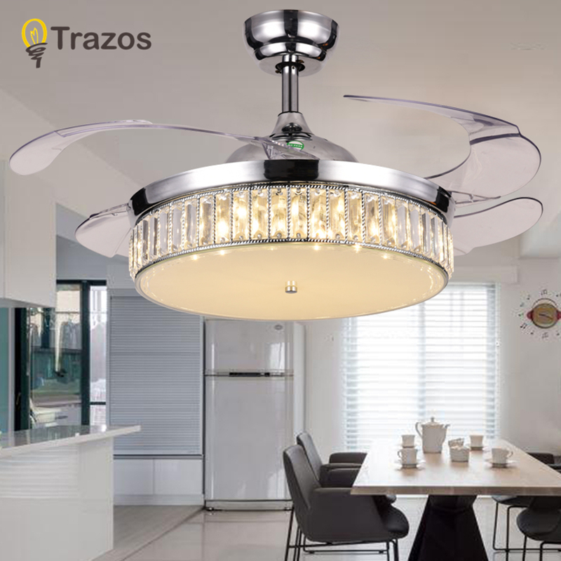 TRAZOS Modern Led Crystal Ceiling Fans With Lights Bedroom Fan Lamp Decoration Folding Ceiling Fan Remote
