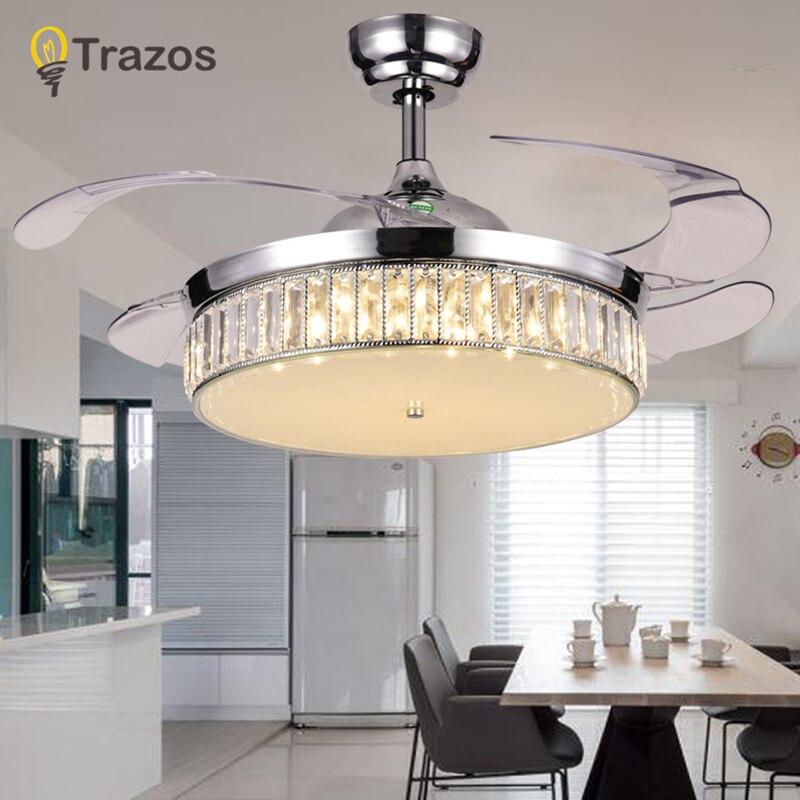 TRAZOS Moderne Led Cristal Ventilateurs de Plafond Avec Des Lumières Chambre Ventilateur Lampe Décoration Pliage Ventilateur de Plafond Télécommande 220 Volts