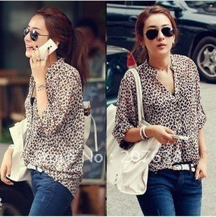 Best Selling!!leopard print V Neck turn-up cuff thin long sleeve shirt/blouse+free shipping ,discount