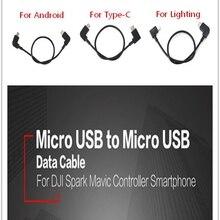 Кабель для передачи данных для DJI Spark Mavic Pro Platinum Air контроллер Micro USB для Android/TYPE-C порт адаптер линия для IOS iPhone Pad
