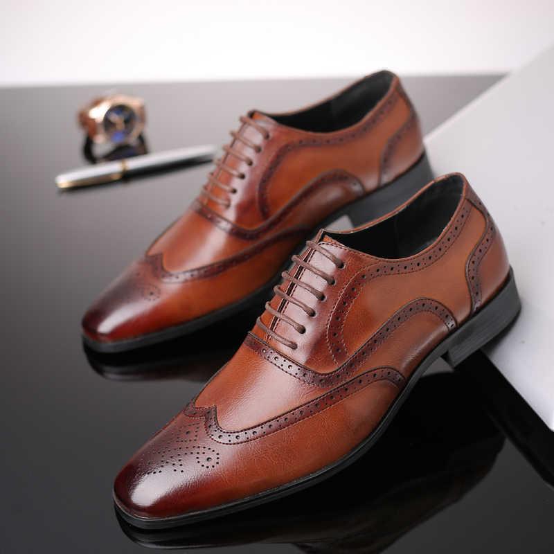 DESAI Элитный бренд Модные кожаные Для мужчин платье в деловом стиле Лоферы острым черная обувь оксфорды дышащие формальные свадебные туфли