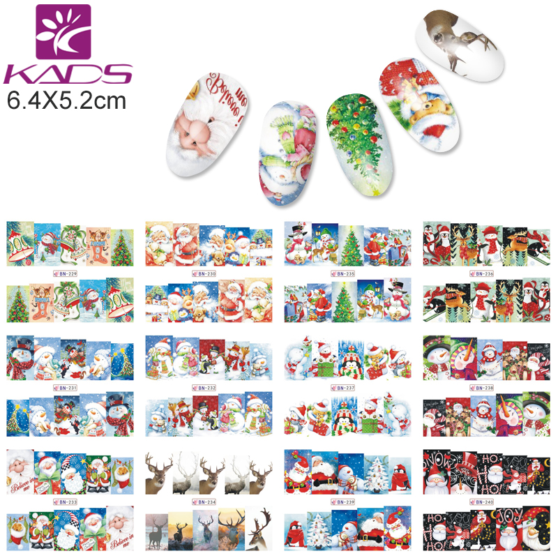 KADS BN229-240 Christmas Style Nail Stickers Snoflake / Santa / Bell / Deer Nail Art Water Transfer Decals Gull Wraps DIY Tool стоимость