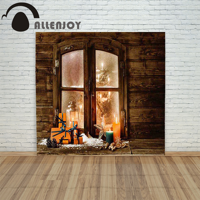 Allenjoy christmas photography backdrop Window gift candle star children's vinyl camera photographic Customize allenjoy christmas photography backdrop wooden fireplace xmas sock gift children s photocall photographic customize festive