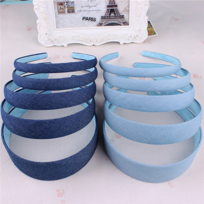 Hot Sale New Fashion Koreansk Jeans Hairbands Håndlaget Blue Denim Leisure Headbands Women Girls Barrette Hair Accessories
