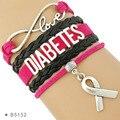 Высококачественные браслеты с лентой Hope, обработанные на диабете, диабетики, воин