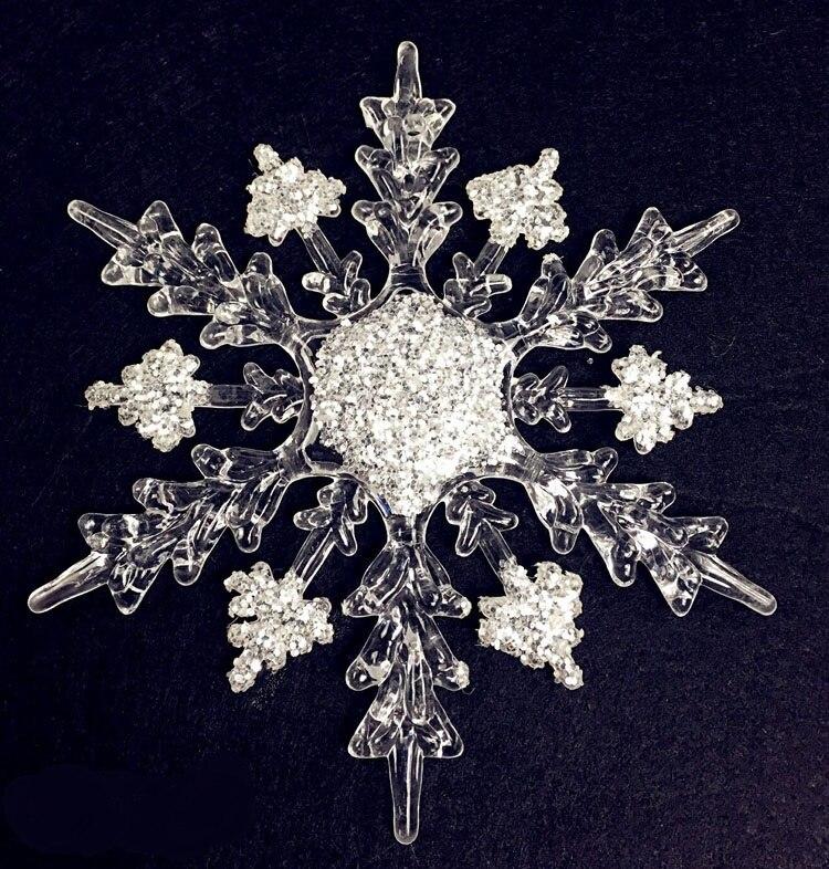 11cm diamantový efekt akrylové sněhové vločky pro vánoční ozdoby nebo okenní dekorace 2ks smíšené