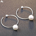 Morning Agent Round circle Sterling Silver earring style shell beads earring lovely cat 925 Sterling Silver earring gift